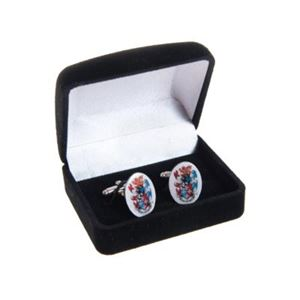 Picture of CCCU Cufflinks - Oval Shaped Nickel Coated Metal Cufflinks printed with CCCU Logo in Full Colour under Epoxy Resin